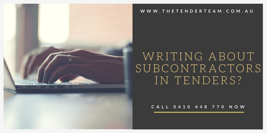 writing about subcontractors in tenders