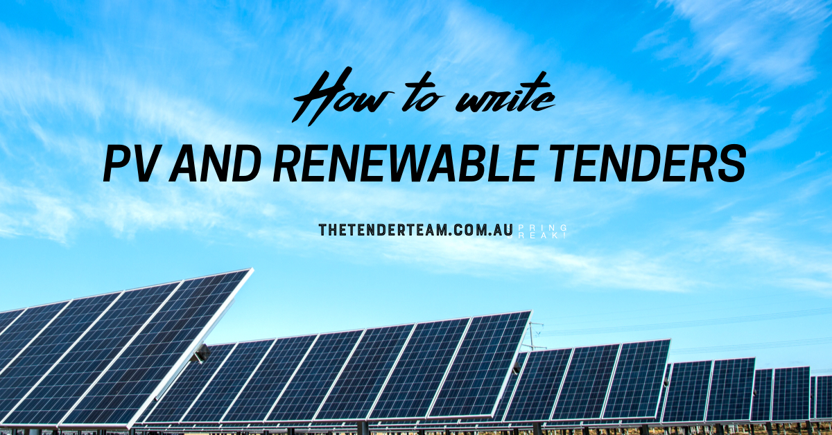 How to write PV and Renewables Tenders